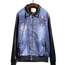 Denim Jacket Men Bomber Vintage Autumn Spring Embroidery Outwear PU Patchwork Coat Cowboy Jeans Jackets Veste Homme A3834