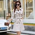 2016 Новая Мода Весна Тонкий Двубортный женщин Полный Рукав Пальто Для Женщин Плюс Размер 3XL C221