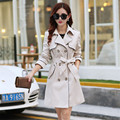 2016 Nova Moda Primavera Fino Dupla Breasted Trench Coat das Mulheres Luva Cheia Para As Mulheres Plus Size 3XL C221