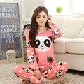 2016 nueva primavera y otoño pijama de manga larga encantadora pijamas de las señoras de la Panda homewear ropa floja de gran tamaño de las mujeres ropa de dormir