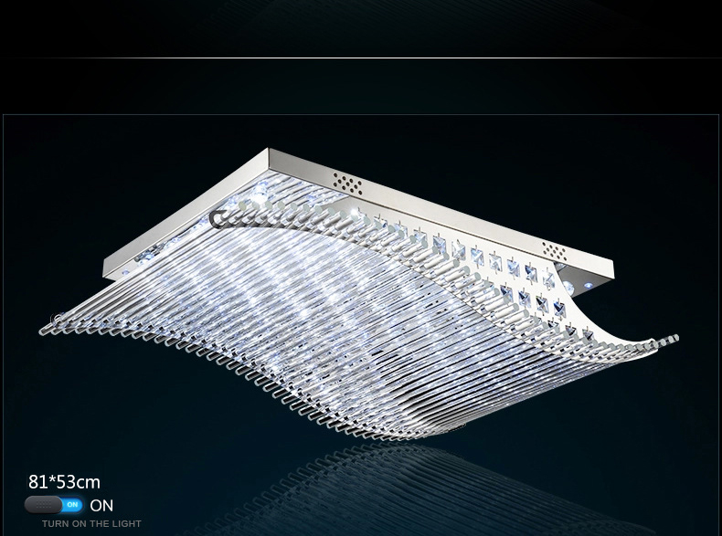 Luxury 4 Color Smooth Sailing Led Lamp K9 Crystal Modern Square Led Ceiling Lights (9)