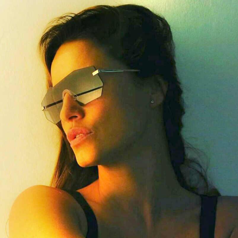 912a2d2297f ... ROYAL GIRL Sunglasses Women 2018 New Brand Designer Unique Rimless Sun Glasses  Men Mirrored Lens Oversize