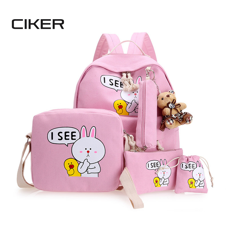 CIKER Women Backpacks for Teenage Girls Mochilas Feminina Canvas Laptop Backpack Female Travel Bagpack Schoolbag Sac A Dos Set