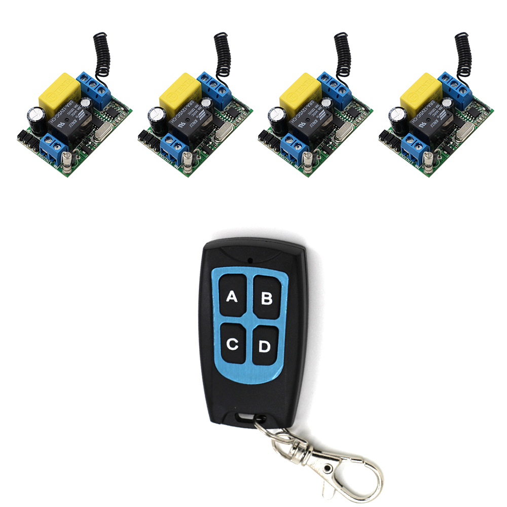 Free Shipping 220V Wireless Remote Control Switch System RF 4 Receivers+1Transmitter Waterproof For LED Light Lamp dhl shipping atg100 portable mini meeting tourism teach microphone wireless tour guide system 1transmitter 15 receivers charger