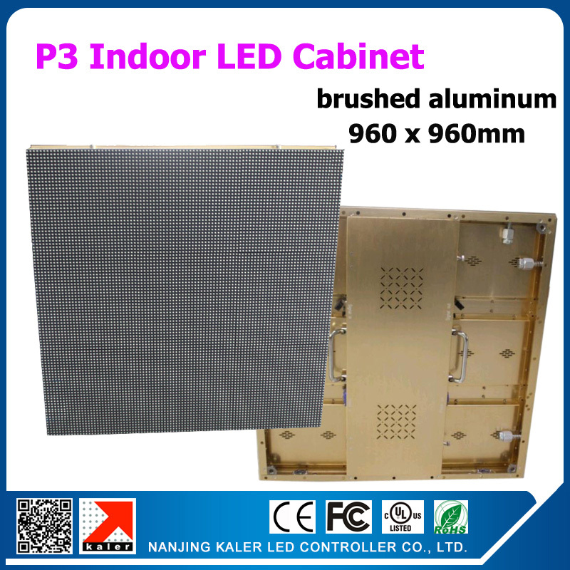 TEEHO rental led cabinet golden brushed aluminum P3 display cabinet indoor led wall VIDEOWALL 960x960mm wedding party festival ...