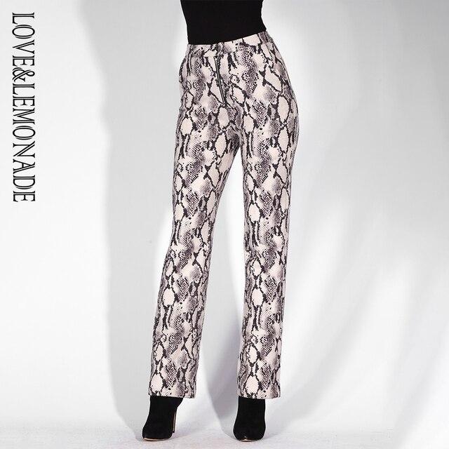 Love & Lemonade gris serpiente patrón Pantalones rectos LM81603 en ...
