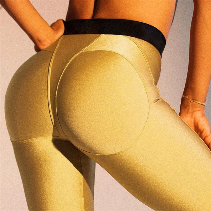 2019 Women Sexy Booty   Leggings   for Fitness High Waist Sports Workout   Leggings   Push Up Sports Pants Girls Casual Slim Pants Gold