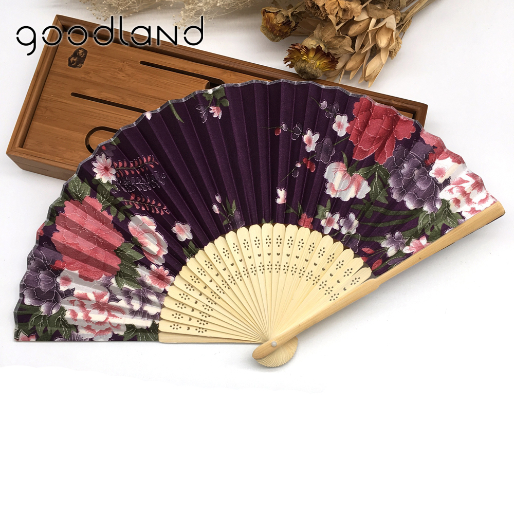 Gratis forsendelse High Quality 1pc Summer Style Folding Håndholdt Fan Fabric Floral Wedding Dance Favor Pocket Fan