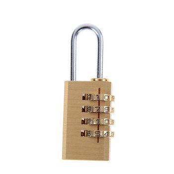 1pc Brass Mini 4 Digits Number Password Code Lock Combination Padlock Pad Lock Resettable for Travelling Bag Door 6cmx2cmx1cm