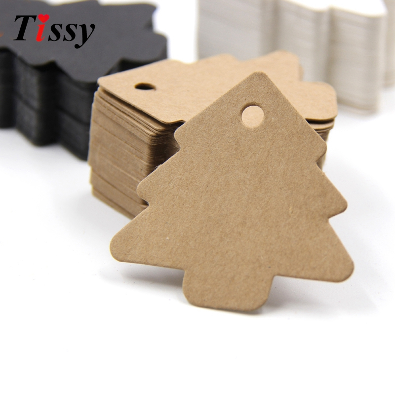 50PCS Tree Shape Paper Tags Kraft Paper Card Labels Paper Cards Tags DIY Christmas/<font><b>Wedding</b></font> Party Favors Blank Hang Tag Gifts image