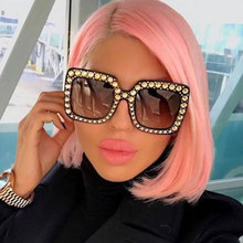 Women Brand Designer Sunglass Mirror Diamond Sun glasses Female Clear Square Eyewear Luxury Fashion Oversize 2017 Big BlingBling
