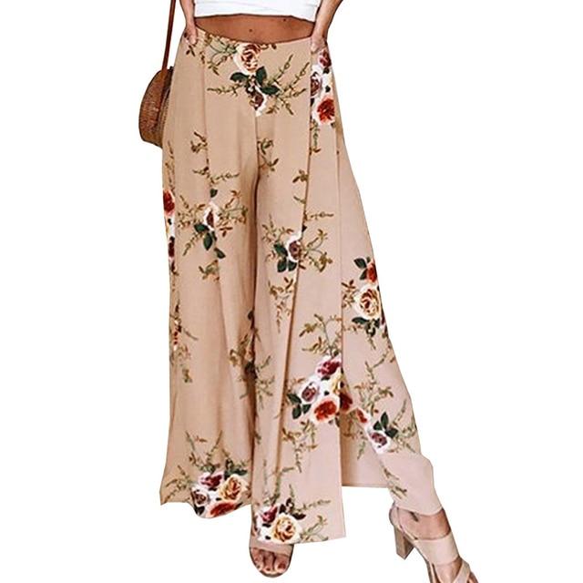 Пляжные длинные брюки женские Для женщин эластичный пояс сбоку Разделение широкие брюки 2018 Лето Повседневное свободные Цветочный принт
