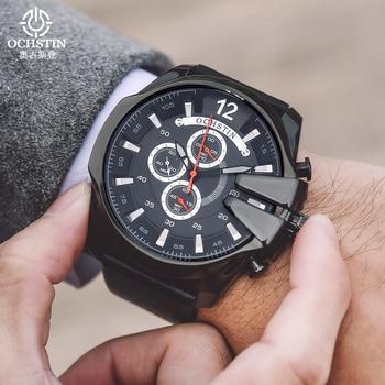 OCHSTIN Watches Men Fashion Sport Quartz Leather Clock Mens Wristwatches Top Band Luxury Big Dial Cool Watch Relogio Masculino leather