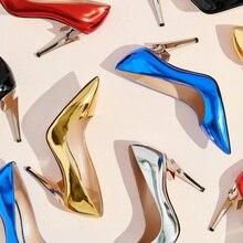Newest Strange Pointed Toe Heels Women Wedding Shoes Gold Black Metallic Leather Slip-on Stilettos for Office Pumps