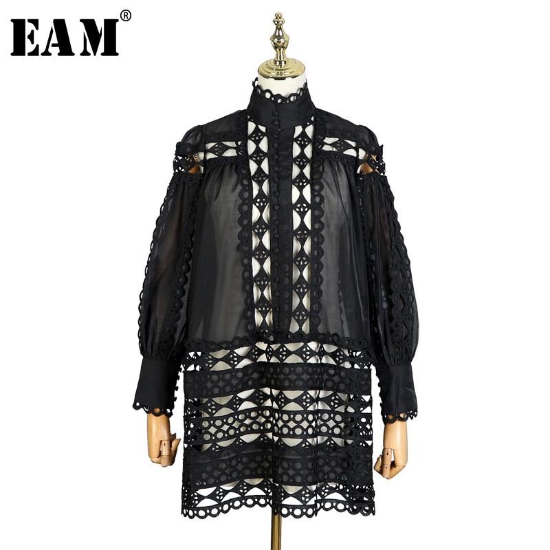 [EAM] 2019 nouveau printemps col montant à manches longues en dentelle noire point Perspecive évider deux pièces robe femmes mode marée JL528