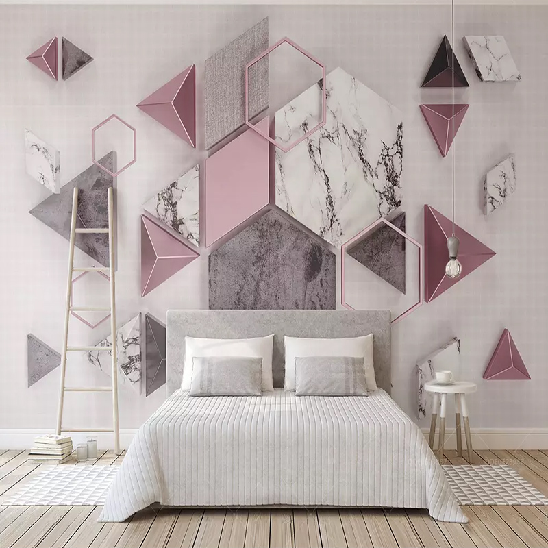 3d Geometric Polygon Marble Texture Wallpaper Modern Creative Art Fresco Living Room TV Background Home Decor Mural Wall Cloth