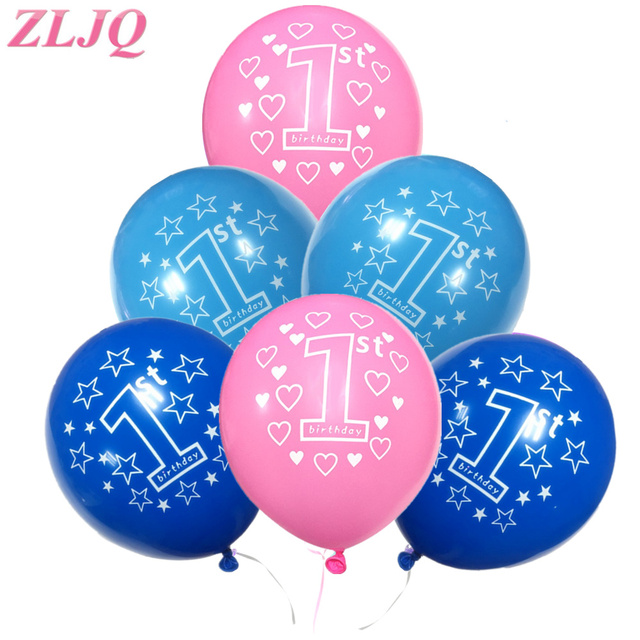 ZLJQ 10pc Pink Blue Balloons Baby Girl Boy 1 Year Old Shower Baloon Birthday Party