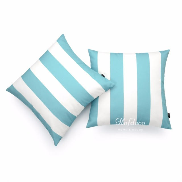 40Pcs Throw Pillow Cover Set Canvas Aqua Turquoise Stripes Coastal Beauteous Coastal Throw Pillow Covers
