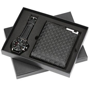 Herren Uhren Luxus Minimalistischen Quarz Armbanduhr Karte Halter Brieftasche Uhren Männer Geschenk Set Uhr für Papa Mann Junge freund
