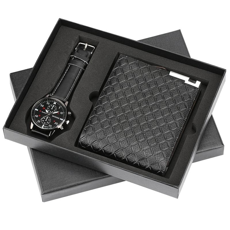 Mens Watches Luxury Minimalist Quartz Wrist Watch Card Holder Wallet Watches Men Gift Set Watch For Dad Husband Boy Friend