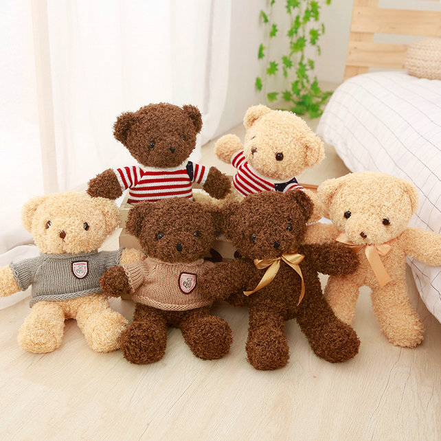 1pc 30CM Lovely Teddy Bear Plush Toys Stuffed Soft Animal Bear with Clothes Kawaii Dolls for Kids Baby Children Valentine Gift 1pc 16cm mini kawaii animal plush toy cute rabbit owl raccoon panda chicken dolls with foam partical kids gift wedding dolls