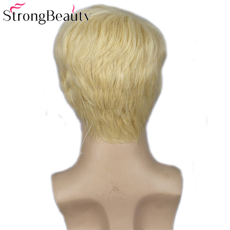 Image 5 - Strong Beauty Gold Blonde Men Wigs Synthetic Wig Short Hair Body Wave Wigs    -