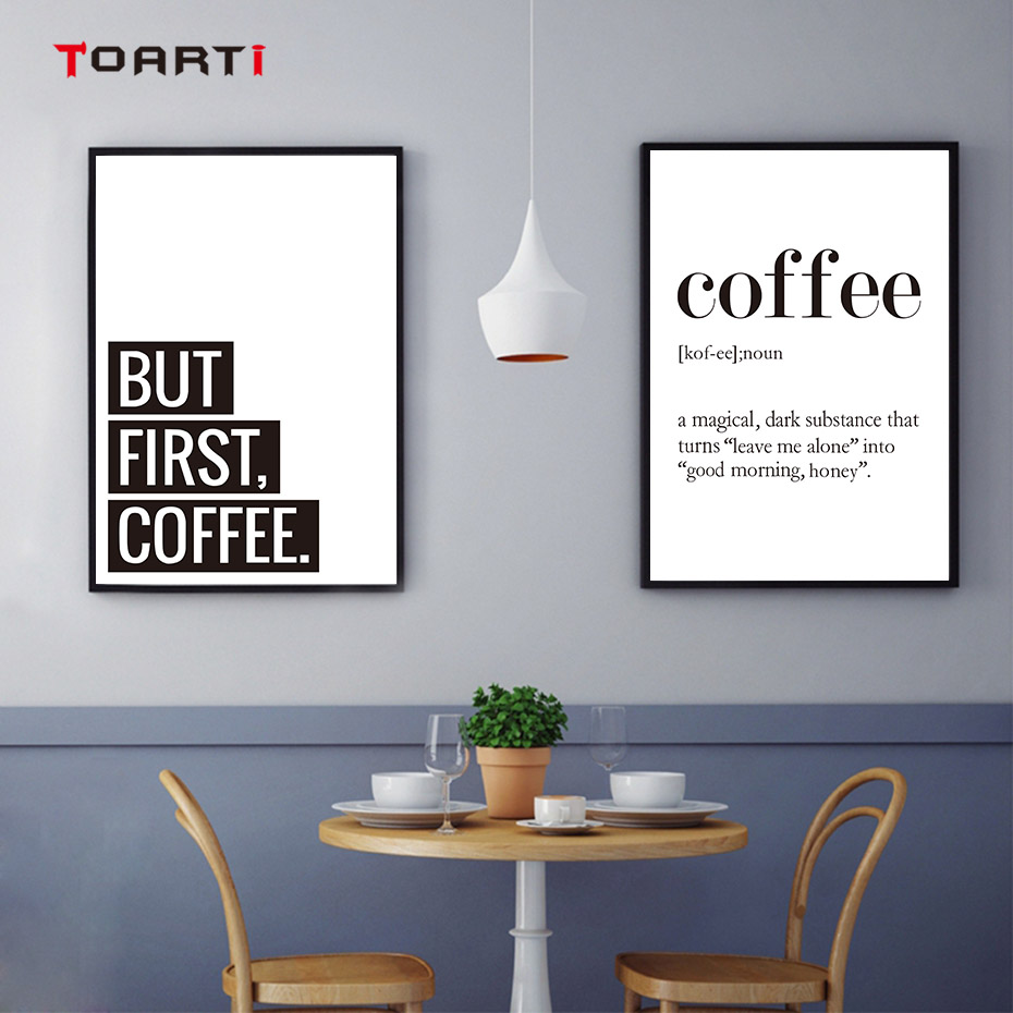 Creative Coffee Life Quote Wall Art Black&White Prints Canvas Painting Nordic Modern Vintage Poster Living Room Home Decor Mural (6)