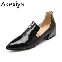 Akexiya Estilo British Ladies Negro Charol Punta estrecha Zapatos Casuales Mujeres Cuadrados de Moda Bajo el Talón Bombea el Tamaño 34-43