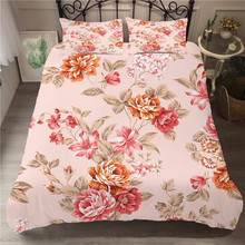 A Bedding Set 3D Printed Duvet Cover Bed Rose Flowers Plant Home Textiles for Adults Bedclothes with Pillowcase #XH12