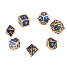 где купить 7Pc Metal Polyhedral Dice Antique Gold & Blue With Bag Dungeons & Dragons RPG MTG Role Playing Board Interesting Gathering Game по лучшей цене