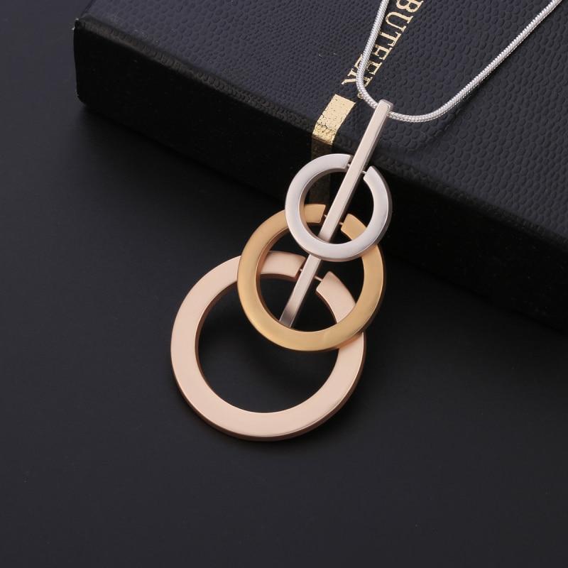 3 Circles Pendant Necklace Mix Colour Long Sweater Chain Maxi Necklaces Jewelry For Women Gifts Pendants Statement Joyeria Kolye