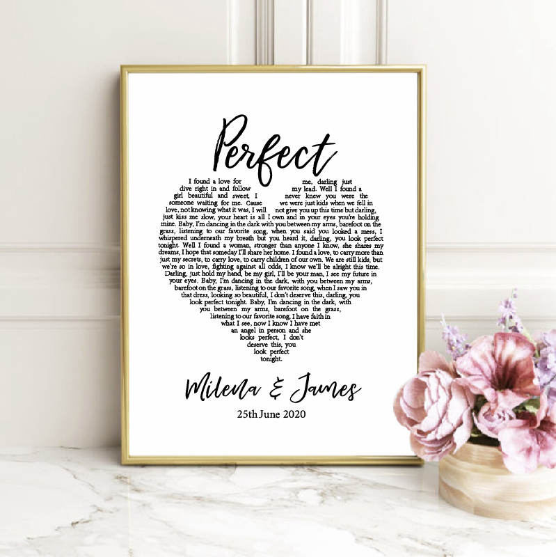 Perfect Lyrics Personalized Love Canvas Painting Picture Wedding Decoration , Custom Name And Date Poster Prints Bedroom Decor