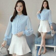 Polo shirts, women's long sleeves, 2018 spring suits, new, fresh women's blouses, Han fan, chiffon and chiffon shirts.