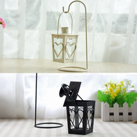 2 Pieces Retro Wedding Decoration Gifts Romantic Heart And Leaves Shaped Wrought Iron And Glass Candle