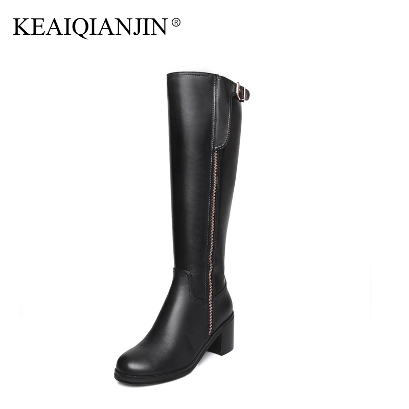 KEAIQIANJIN Woman Plush Knee High Boots Metal Decoration Plus Size 33 - 41 Winter Shoes Genuine Leather Knee High Boots Thigh