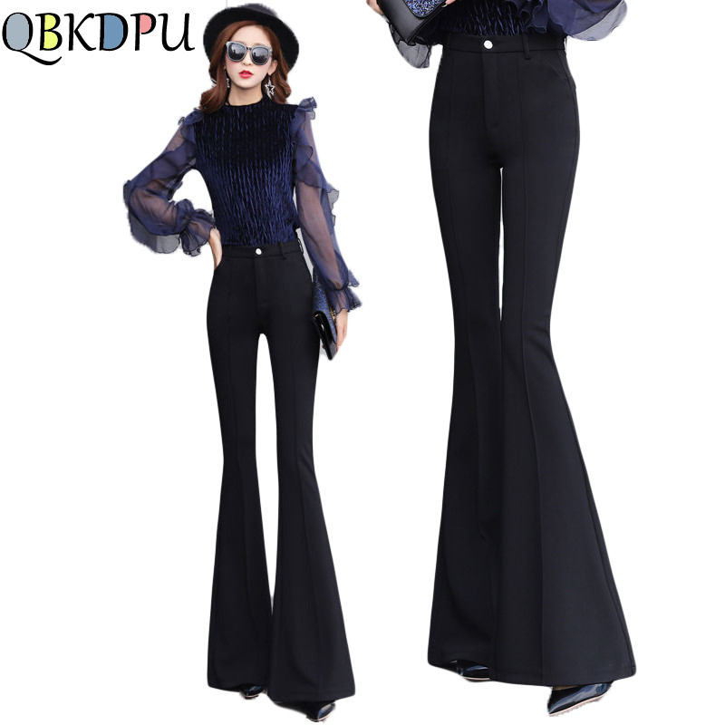 Mom's Casual Pants Women Springy High Waist Bell Bottom Pants Flare Pants Wide Leg Pants Big Plus Size S-3XL Black White Female
