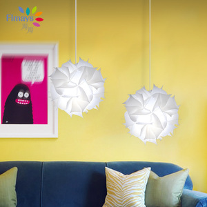Image 4 - Nordic Flower Modern DIY Elements IQ Jigsaw Puzzle ZE Lamp Ceiling Chandelier Pendant Lamp Ball Light Lighting 30.5cm