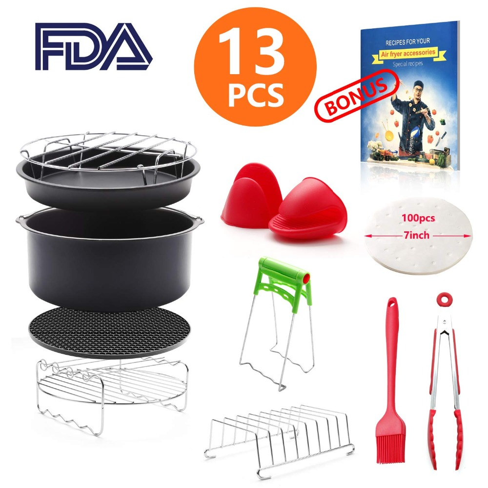 8 inch General Air Fryer Accessories 13 pieces with Recipe Cookbook  Compatible with Philips Gowise