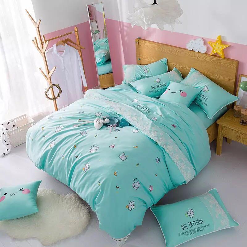 Синий Кролик постельных принадлежностей королева размер края шнурка постельное белье из египетского хлопка вышитые домашний текстиль про