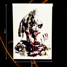 1PC Large Animal Cool Body Arm Sleeve Tattoo Wolf Blood Bear Design Waterproof Arm Chest Decal Temporary Tattoo Stickers HHB-341
