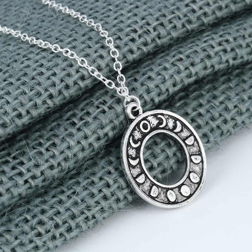 Chengxun Fase Bulan Liontin Kalung Wanita Sederhana Lingkaran Hollow Perhiasan Emas Astrologi Aksesori Hadiah,