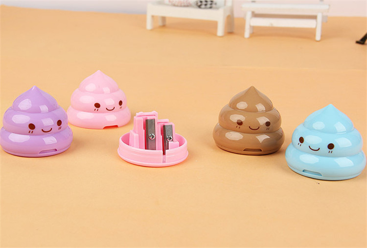 1000 Pcs Korea Stationery Shit Pencil Sharpener Shape Double Orifice Double Pole Piece Office & School Supplies Grade Products According To Quality