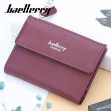 Baellerry Women 8 Color Solid Short Wallet Zipper n Hasp Opening Coin Pocket Photo Holder Card Female Money Bag