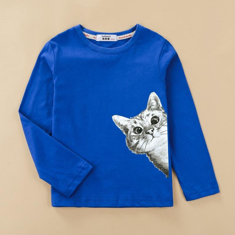 kitten shirt Children's t-shirt girl cotton long-sleeved clothes fashion autumn winter tops baby girl tees 2
