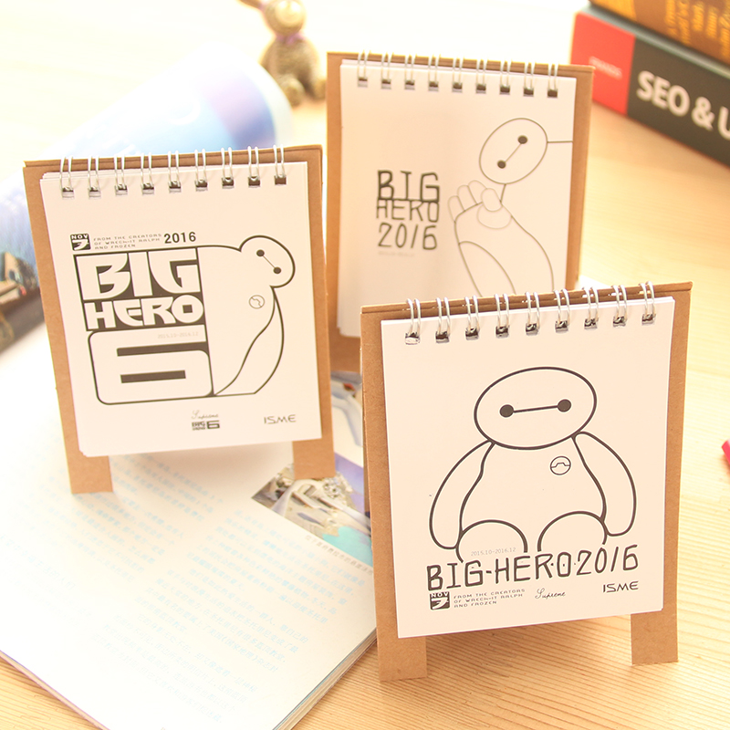 Mini Table Calendar 2016 Cute Cat Baymax Desk Calendars Agenda Planner Calendario Stationery Office School Supplies 6807 In From
