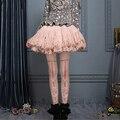 Качество печати чулки мода лук цветы мягкий сладкий лолита колготки legging чулки