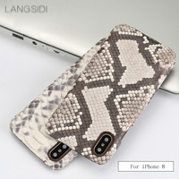 LANGSIDI For iPhone 8 case Luxury handmade genuine leather python skin back case to send phone protection glass steel film