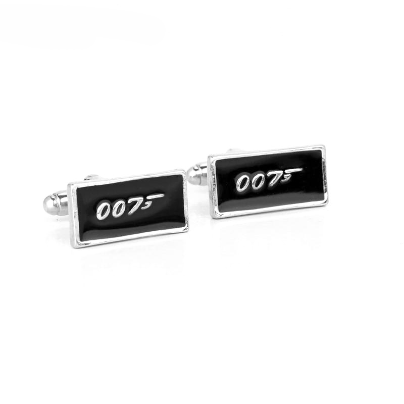 Promotion!! 007 Cufflinks black color fashion novelty james bond movie design copper material Mens Shirt Wedding Party Cufflinks image