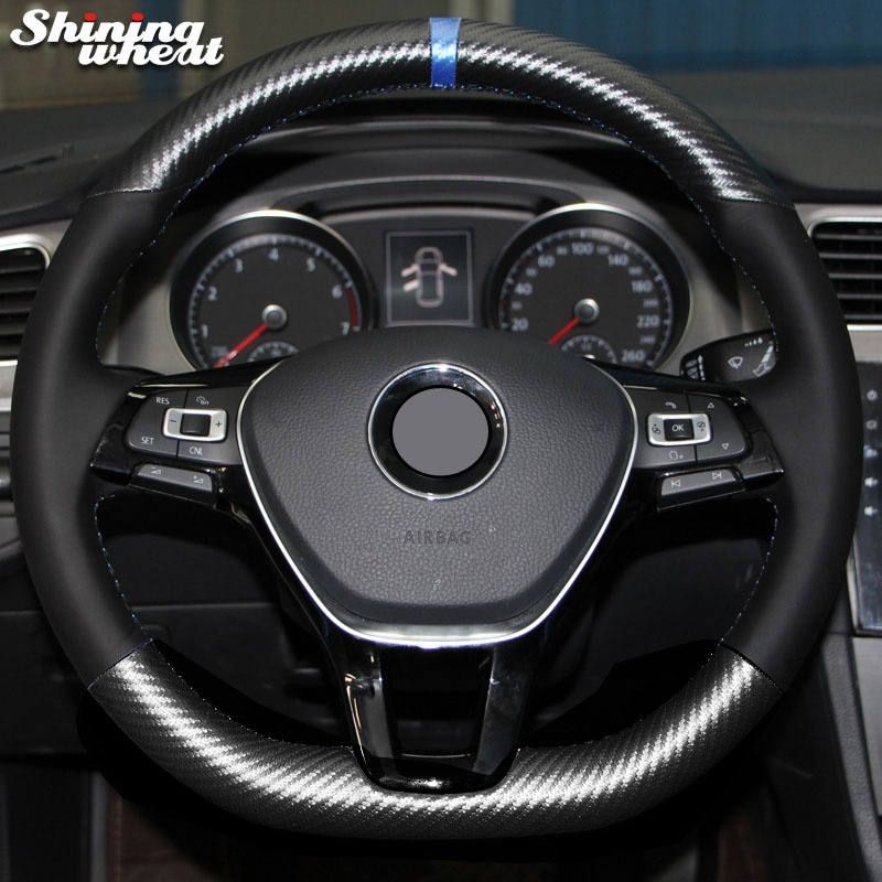 Shining wheat PU Carbon Fiber Leather Steering Wheel Cover for Volkswagen VW Golf 7 Mk7 New Polo Jetta Passat B8 Tiguan atreus 1pcs steering wheel sticker r emblem for volkswagen vw passat b8 polo jetta touran bora golf 7 gti mk7 auto accessories