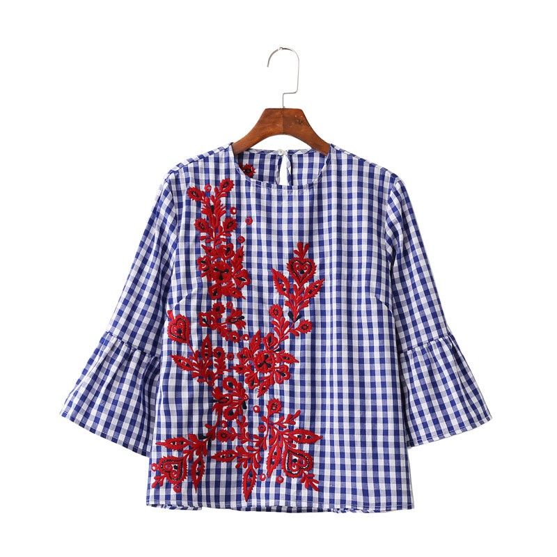 HTB1lwTCNXXXXXaZXpXXq6xXFXXXi - Women floral embroidery plaid blouse sleeve loose shirts fashion